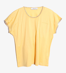 JPN -  코튼 라운드 티셔츠   Made In Italy  Women L / Color - Yellow
