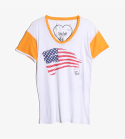 DIRTEE HOLLYWOOD -  코튼 폴리 배색 티셔츠   Made In Usa  Women M / Color - Multi