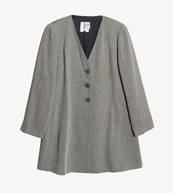 KRIZIA - 크리지아 울 실크 롱 자켓   Made In Italy  Women M / Color - Gray