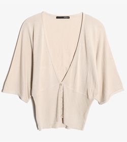 LES COPAINS - 레코뱅 울 브이넥 가디건   Made In Italy  Women L / Color - Beige